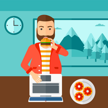 eating food: A hipser man with the beard standing in room in front of a laptop while eating junk food vector flat design illustration. Square layout. Illustration