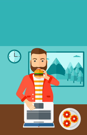 harmful: A hipser man with the beard standing in room in front of a laptop while eating junk food vector flat design illustration. Vertical layout. Illustration