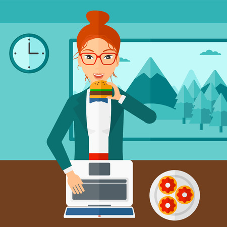 woman eating: A woman standing in room in front of a laptop while eating junk food vector flat design illustration. Square layout.