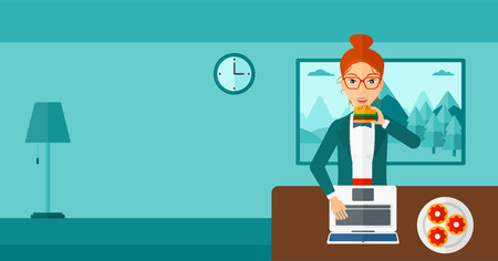 A woman standing in room in front of a laptop while eating junk food vector flat design illustration. Horizontal layout. Ilustração