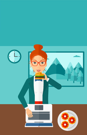 harmful: A woman standing in room in front of a laptop while eating junk food vector flat design illustration. Vertical layout. Illustration