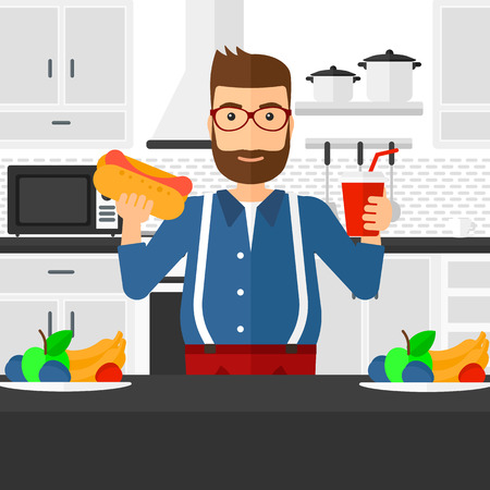 harmful: A fat hipster man with the beard holding a hotdog in one hand and soda in another on a kitchen background vector flat design illustration. Square layout.