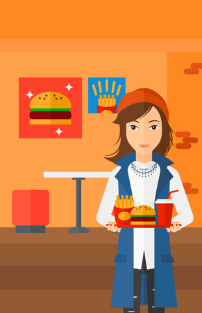 A woman holding a tray full of junk food on a cafe background vector flat design illustration. Vertical layout.