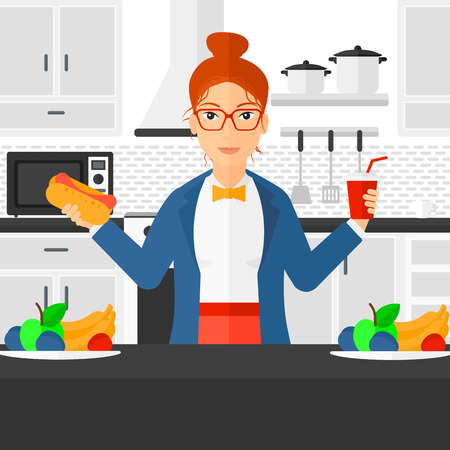 hot woman: A fat woman holding a hotdog in one hand and soda in another on a kitchen background vector flat design illustration. Square layout. Illustration