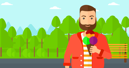 A hipster man with the beard holding a big icecream in hand on a park background vector flat design illustration. Horizontal layout.