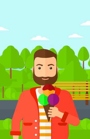 cartoon ice cream: Un hombre inconformista de la barba que sostiene un helado grande en la mano en una ilustraci�n de dise�o plano del parque de vectores de fondo. disposici�n vertical. Vectores