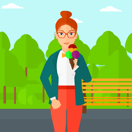 A woman holding a big icecream in hand on a park background vector flat design illustration. Square layout.
