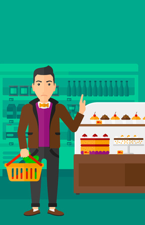 refusing: A man holding a basket full of healthy food and refusing junk food on a supermarket background vector flat design illustration. Vertical layout.