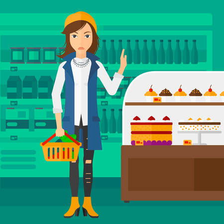 refusing: A woman holding a basket full of healthy food and refusing junk food on a supermarket background vector flat design illustration. Square layout.