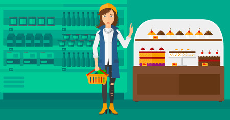 refusing: A woman holding a basket full of healthy food and refusing junk food on a supermarket background vector flat design illustration. Horizontal layout. Illustration