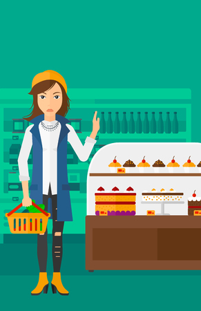 eating pastry: A woman holding a basket full of healthy food and refusing junk food on a supermarket background vector flat design illustration. Vertical layout.