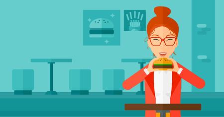 harmful: A happy woman eating hamburger on a cafe background vector flat design illustration. Horizontal layout.