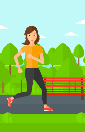 sportive: A sportive woman jogging in the park vector flat design illustration. Vertical layout. Illustration