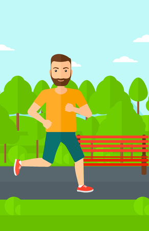 sportive: A sportive hipster man with the beard jogging in the park vector flat design illustration. Vertical layout.