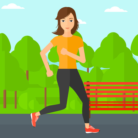 sportive: A sportive woman jogging in the park vector flat design illustration. Square layout. Illustration