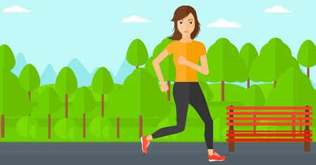 sportive: A sportive woman jogging in the park vector flat design illustration. Horizontal layout.