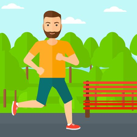 sportive: A sportive hipster man with the beard jogging in the park vector flat design illustration. Square layout. Illustration
