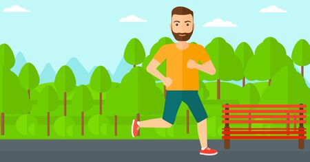 sportive: A sportive hipster man with the beard jogging in the park vector flat design illustration. Horizontal layout. Illustration