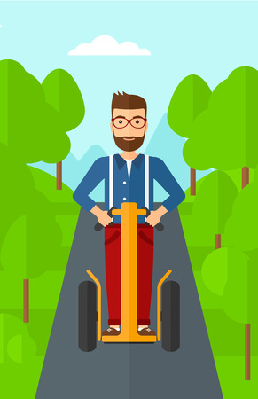 A hipster man with the beard riding on electric scooter in the park vector flat design illustration. Vertical layout.