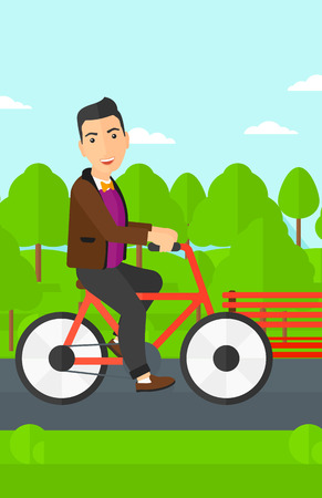 deportes caricatura: A happy man riding a bicycle in the park vector flat design illustration. Vertical layout. Vectores