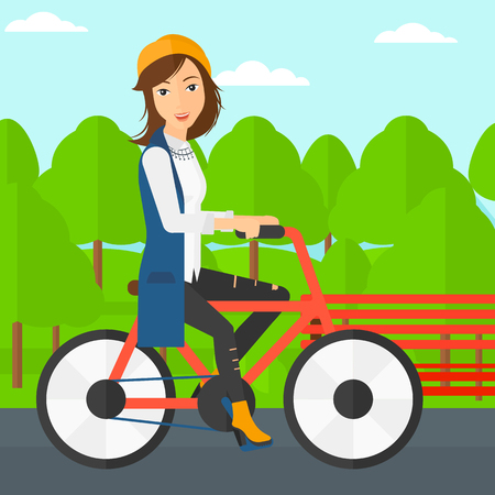 shapes cartoon: A happy woman riding a bicycle in the park vector flat design illustration. Square layout.