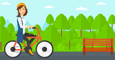 cartoon park: A happy woman riding a bicycle in the park vector flat design illustration. Horizontal layout. Illustration