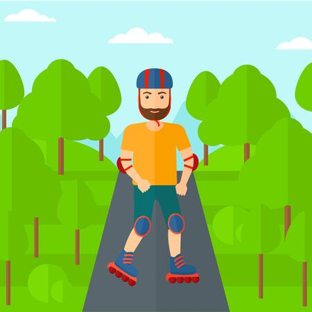 rollerskates: A hipster man with the beard on the roller-skates in the park vector flat design illustration. Square layout.