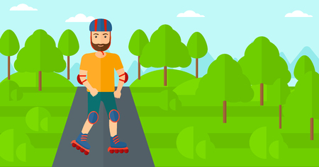 rollerskates: A hipster man with the beard on the roller-skates in the park vector flat design illustration. Horizontal layout.