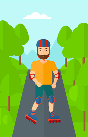 rollerskates: A hipster man with the beard on the roller-skates in the park vector flat design illustration. Vertical layout.