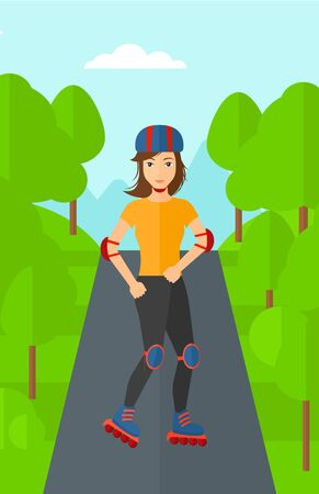 rollerskates: A sporty woman on the roller-skates in the park vector flat design illustration. Vertical layout.