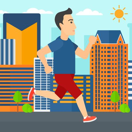 sportive: A sportive man jogging on a city background vector flat design illustration. Square layout.