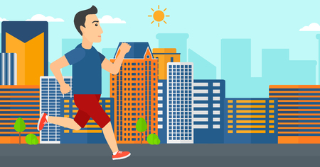 sportive: A sportive man jogging on a city background vector flat design illustration. Horizontal layout. Illustration