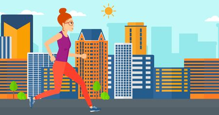 sportive: A sportive woman jogging on a city background vector flat design illustration. Horizontal layout.