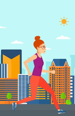 sportive: A sportive woman jogging on a city background vector flat design illustration. Vertical layout. Illustration