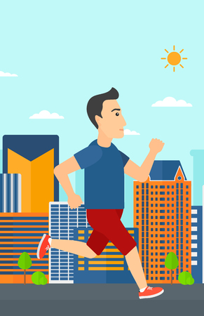sportive: A sportive man jogging on a city background vector flat design illustration. Vertical layout.