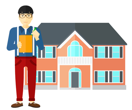signing agent: An asian real estate agent signing documents in front of the house vector flat design illustration isolated on white background.