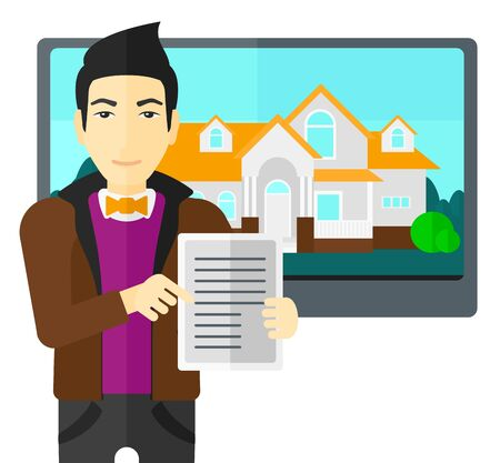 hands holding house: An asian man standing in front of big screen with house photo and holding a tablet computer in hands vector flat design illustration isolated on white background. Illustration