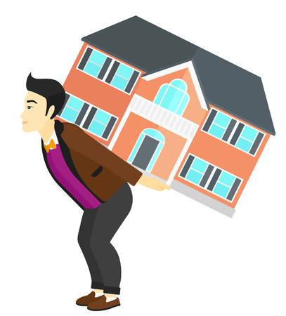 housing project: An asian man carrying a big house on his back vector flat design illustration isolated on white background. Illustration