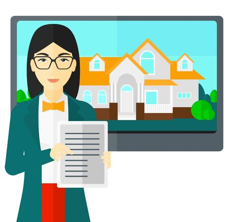 big screen: An asian woman standing in front of big screen with house photo and holding a tablet computer in hands vector flat design illustration isolated on white background.