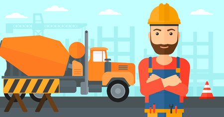 A hipster man with the beard standing with arms crossed on a background of construction site with concrete mixer and road barriers vector flat design illustration. Horizontal layout. Illustration