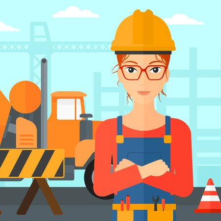 architect: A woman standing with arms crossed on a background of construction site with concrete mixer and road barriers vector flat design illustration. Square layout.