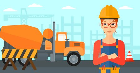 architect: A woman standing with arms crossed on a background of construction site with concrete mixer and road barriers vector flat design illustration. Horizontal layout. Illustration