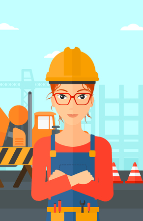 architect: A woman standing with arms crossed on a background of construction site with concrete mixer and road barriers vector flat design illustration. Vertical layout.