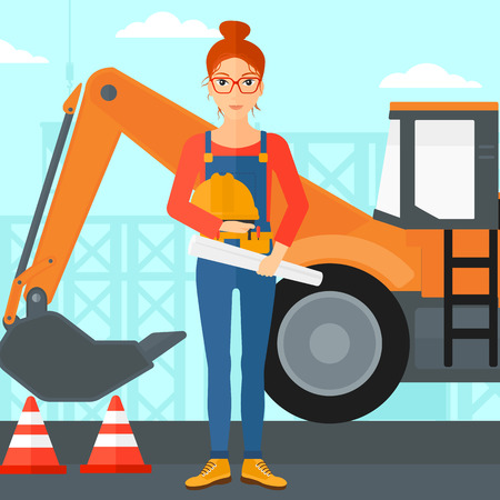 A woman holding a hard hat and a twisted blueprint in hands on a background of construction site with excavator and traffic cones vector flat design illustration. Square layout. Banco de Imagens - 51752028