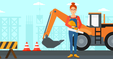 hard: A woman holding a hard hat and a twisted blueprint in hands on a background of construction site with excavator and traffic cones vector flat design illustration. Horizontal layout. Illustration