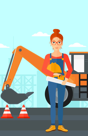 A woman holding a hard hat and a twisted blueprint in hands on a background of construction site with excavator and traffic cones vector flat design illustration. Vertical layout.