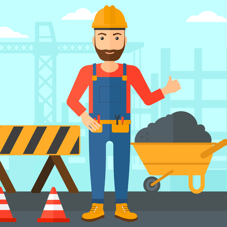 A hipster man in helmet showing thumbs up sign on a background of construction site with road barriers and wheelbarrow vector flat design illustration. Square layout.