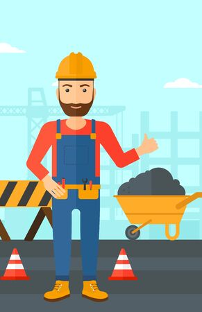 building site: A hipster man in helmet showing thumbs up sign on a background of construction site with road barriers and wheelbarrow vector flat design illustration. Vertical layout.