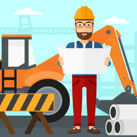 A hipster man with the beard considering a blueprint on a background of excavator on construction site vector flat design illustration. Square layout.