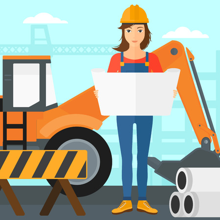 construction draftsman: A woman considering a blueprint on a background of excavator on construction site vector flat design illustration. Square layout.